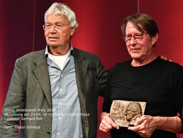 Verleihung Dieter-Hildebrandt Preis 2018 an Andreas Rebers | Laudator Gerhardt Polt | Foto: Dieter Schnöpf